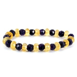 Amethyst with Citrine Combination 6 mm Faceted Bead Bracelet