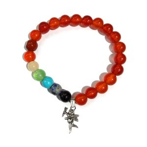 Carnelian Bracelet with Hanging Cupids Charm 8 mm Round Beads Bracelet