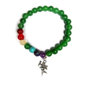 Green Aventurine Bracelet with Hanging Cupids Charm 8 mm Round Beads Bracelet