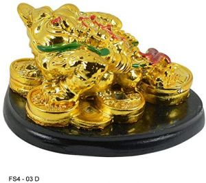 Golden Frog with Coins for Wealth and Happiness