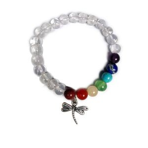 Clear Quartz Bracelet with Hanging Dragon Fly Charm 8 mm Round Beads Bracelet