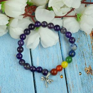 Amethyst Bracelet with Hanging Dragon Fly Charm 8 mm Round Beads Bracelet