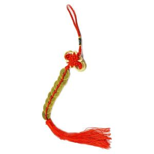 Feng Shui Eight 8 Coins Hanging with Red Strings for Good Fortune