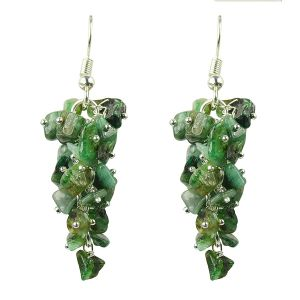Emerald Crystal Earrings Natural Chip Beads Earrings for Women, Girls (Color :Green)