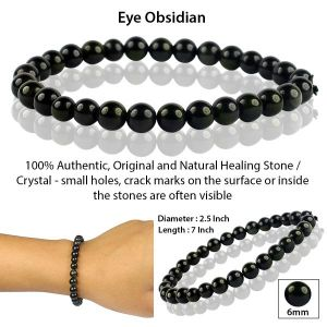 Eye Obsidian 6 mm Round Bead Bracelet
