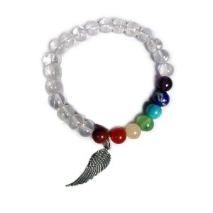 Clear Quartz  with 7 Chakra Angel Feather Charm Hanging Bracelet
