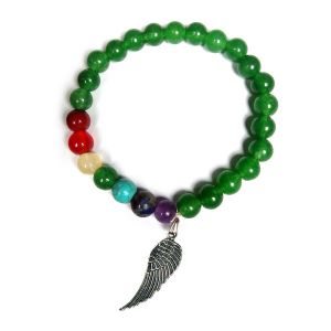 Green Aventurine with 7 Chakra Angel Feather Charm Hanging Bracelet