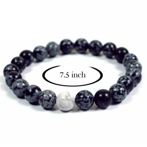 Snowflake Obsidian Bracelet with Howlite Single Stone Combination 8 mm Beads Bracelet