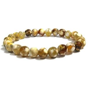 Fire Agate 8 mm Round Bead Bracelet