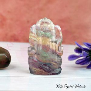 Natural Multi Fluorite Crystal Stone Ganesha Idol