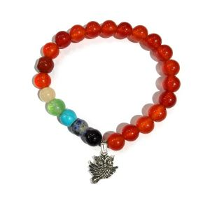 Carnelian Bracelet with Hanging Flying Owl Charm 8 mm Round Beads Bracelet