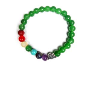 Green Jade With 7 Chakra Hanging Charm Bracelet  8 - Fox Charm