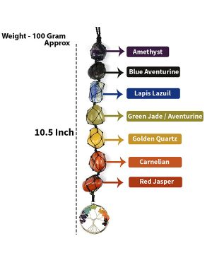 7 Chakra Tumble Stone Hanging with Tree of Life for Car Hanging and Door Hanging