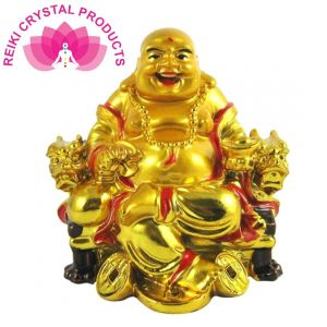 Vastu / Feng Shui Laughing Buddha On Chair With Ingot And Money Coin