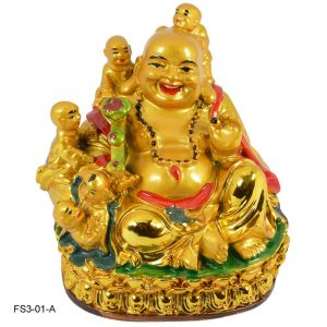 Feng Shui Medium Size Laughing Buddha With 5 Children