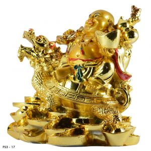 Feng Shui Big Size Laughing Buddha With Dragon Boat & Coins