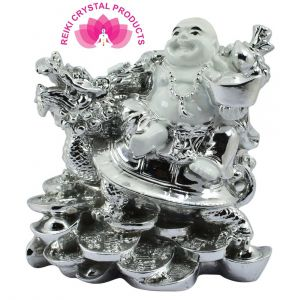 Feng Shui White & Silver Laughing Buddha With Dragon Boat & Coins