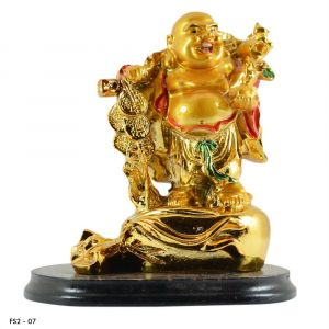 Feng Shui Laughing Buddha With Money Coins and Potli