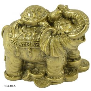 Feng Shui Elephant With Turtle For Wealth, Strength, Wsdom And Success