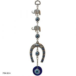 Evil Eye Horse Shoe with Two Elephant Car & Door/Office Hanging