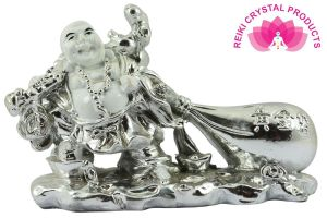 Feng shui  White & Silver Laughing Buddha With Potli