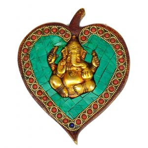 Brass Wall Hanging Ganesha Sitting with Multi Stone