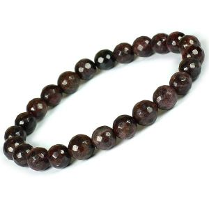 Garnet Certificate 8 mm Faceted Bead Bracelet