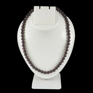 Garnet 8 mm Round Bead Mala & Necklace (108 Beads & 32 Inch Approx)