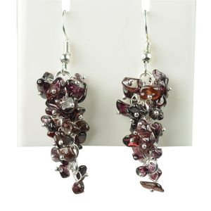Garnet Crystal Natural Chip Beads Earring for Women, Girls