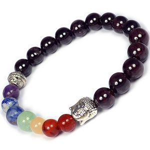 Garnet Bracelet 7 Chakra Bracelet Buddha Head Bracelet Combination Bracelet 8 mm Round Bead Bracelet for Unisex (Color : Multi)