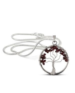 Garnet Tree of Life Pendant with Silver Polished Metal Chain
