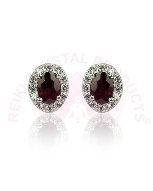 Garnet Studs - Earrings 92.5 Sterling Silver Stud/Earring for Women Girls