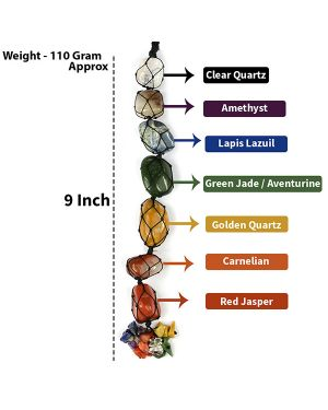 7 Chakra Tumble Stone Hanging with Crystal Chip for Car Hanging and Door Hanging