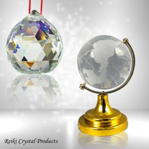 Crystal Ball and Crystal Globe  40 mm Approx Combo Pack of 2 pc