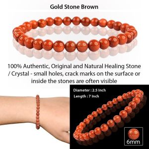 Goldstone Brown 6 mm Round Bead Bracelet