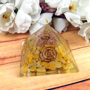 Golden Quartz Orgone / Orgonite Pyramid