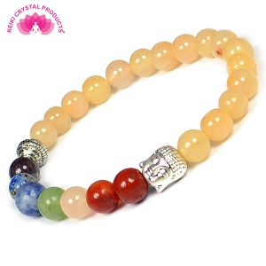 Golden Quartz with 7 Chakra Buddha Head Combination  8 mm Bead Bracelet