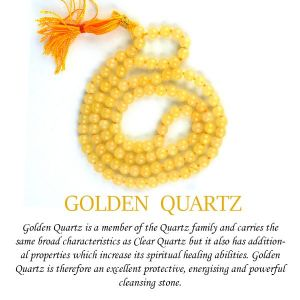 Golden Quartz 6 mm Round Beads Mala & Necklace ( 108 Beads, 26 Inch  Approx)