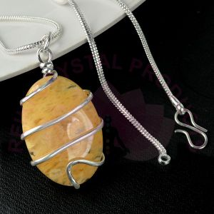 Golden Quartz Oval Wire Wrapped Pendant with Silver Polished Chain