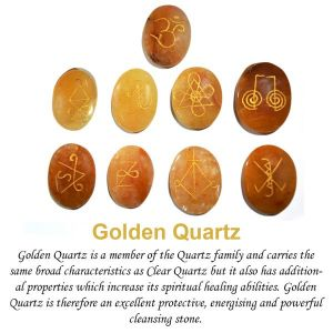 Golden Quartz Karuna Reiki Symbol Engraved Set of 9 pc