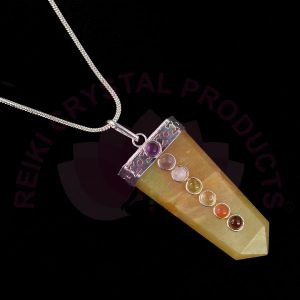 Golden Quartz 7 Chakra Flat Stick Pendant With Silver Polished Metal Chain
