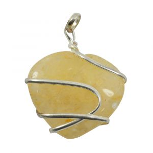 Golden Quartz Heart Wire Wrapped Pendant