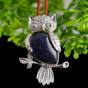 Goldstone Blue Owl Shape Pendant with Metal Polished Chain