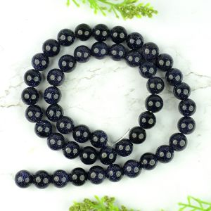Goldstone Blue 6 mm Round Beads Mala & Necklace ( 108 Beads, 26 Inch  Approx)