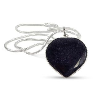 Goldstone Blue Heart Shape Pendant Size 30-35 mm with Metal Silver Polished Chain