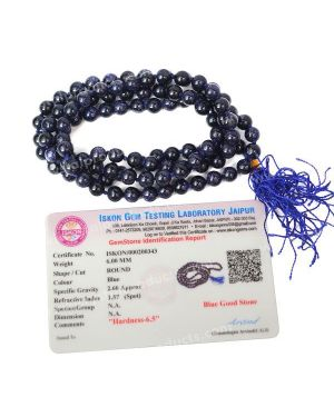 Certified Goldstone Blue 6 mm 108 Round Bead Mala with Certificate