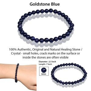 Goldstone Blue 6 mm Round Bead Bracelet