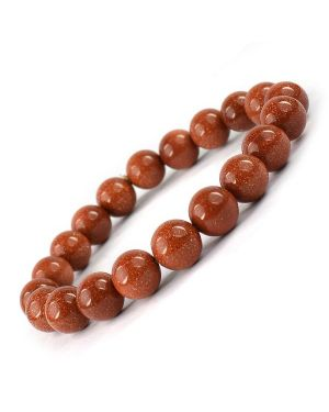 Goldstone Brown 10 mm Round Bead Bracelet