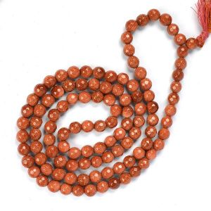 Goldstone Brown 8 mm Diamond Cut Mala & Necklace
