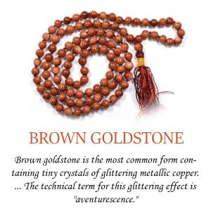 Goldstone Brown 6 mm 108 Round Bead Mala / Necklace
